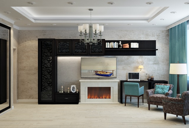 modern living room with fireplace and open concept kitchen