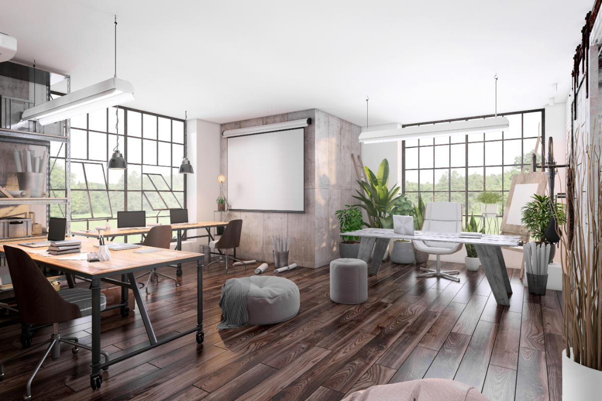 large open home office with 2 desks with chairs